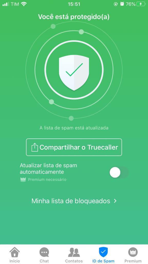 Aba ID de Spam no aplciativo TrueCaller para iPhone