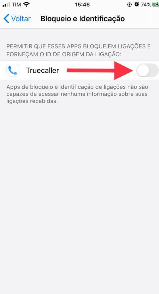 Campo TrueCaller dentro de Bloqueio e Identificação no iPhone