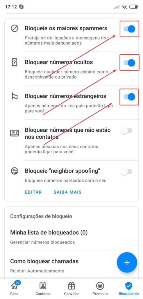 Opções de Bloqueio Automático do TrueCaller