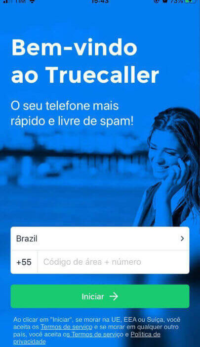 Tela inicial do aplicativo TrueCaller no iPhone