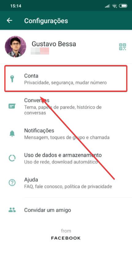 Opções da conta do whatsapp